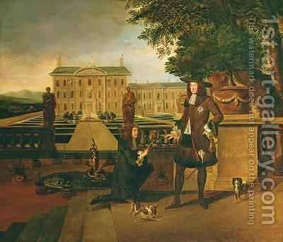 John Rose the Kings Gardener presenting Charles II 1630-85 with a pineapple by Hendrick Danckerts - Reproduction Oil Painting