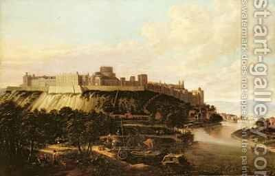 A View of Windsor Castle with Figures and Vessels on the River Thames by Hendrick Danckerts - Reproduction Oil Painting
