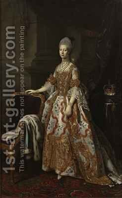 Portrait of Queen Charlotte of Mecklenburg Strelitz by Sir Nathaniel Dance-Holland - Reproduction Oil Painting