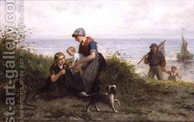 The Fishermans Family by J.J.M. Damschroeder - Reproduction Oil Painting