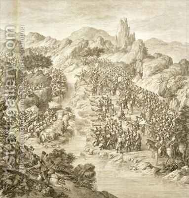 The First Battle between the Chinese Army and that of the Eleuths in 1759 by (after) Damascene, Jean (An Tai) - Reproduction Oil Painting
