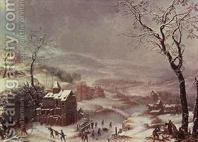 Winter scene near River Flustal by Johann the Yngr Dallinger von Dalling - Reproduction Oil Painting
