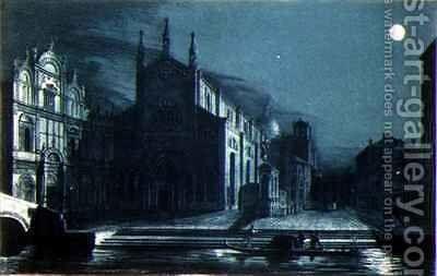 Nocturnal Scene of the Church of SS Giovanni and Paolo Venice by (after) Dalda - Reproduction Oil Painting