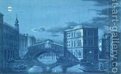 Nocturnal Scene of the Ponte di Rialto Venice by (after) Dalda - Reproduction Oil Painting