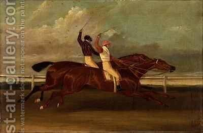 Actaeon beating Memnon in the Great Subscription Purse at York by David of York Dalby - Reproduction Oil Painting