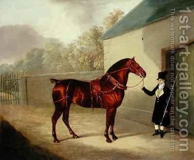 A Carriage Horse and a Groom at a Stable by David of York Dalby - Reproduction Oil Painting
