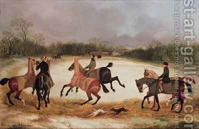 Grooms exercising racehorses by David of York Dalby - Reproduction Oil Painting