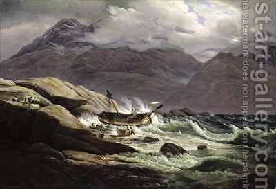 Shipwreck on the Norwegian Coast by Johan Christian Clausen Dahl - Reproduction Oil Painting