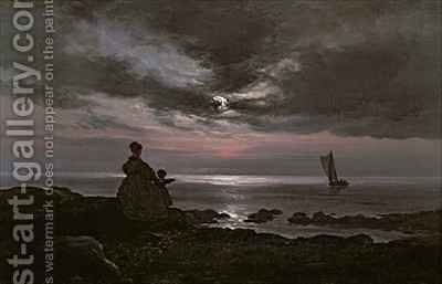 Mother and Child by the Sea by Johan Christian Clausen Dahl - Reproduction Oil Painting