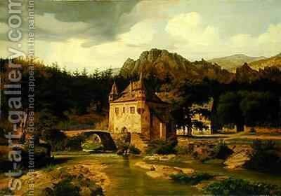 Castle in the Mountains by Carl Dahl - Reproduction Oil Painting