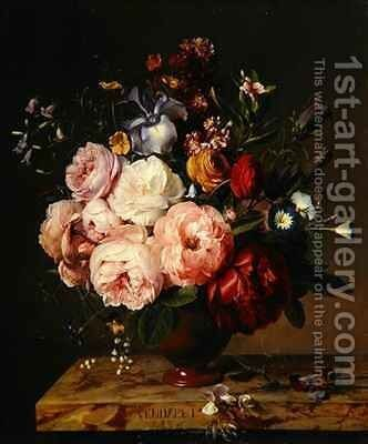 A Vase of Flowers on a Ledge by Jan Frans Van Dael - Reproduction Oil Painting