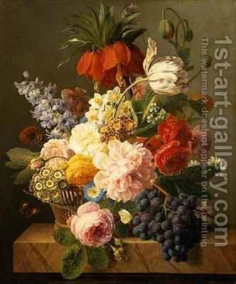 Still Life with Flowers and Fruit by Jan Frans Van Dael - Reproduction Oil Painting