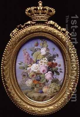 Miniature Bouquet with open background by Jan Frans Van Dael - Reproduction Oil Painting