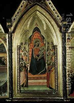Triptych of the Virgin and Child Enthroned by Bernardo Daddi - Reproduction Oil Painting