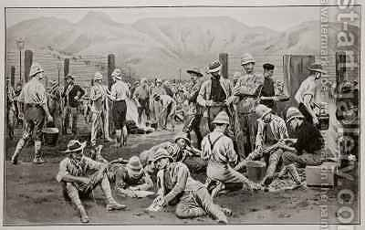 British prisoners waiting for release The camp at Nooitgedacht by (after) Dadd, Frank - Reproduction Oil Painting