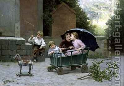 The Coach Ride by Charles Bertrand D'entraygues - Reproduction Oil Painting