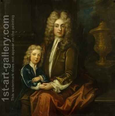 Edward 2nd Viscount Preston and his son Charles by Charles d' Agar - Reproduction Oil Painting