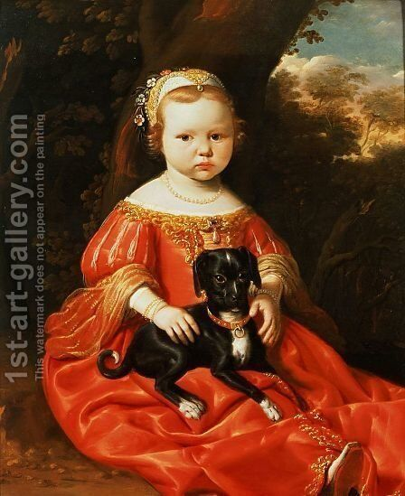 Portrait of a Girl with a Dog by Jacob Gerritsz. Cuyp - Reproduction Oil Painting