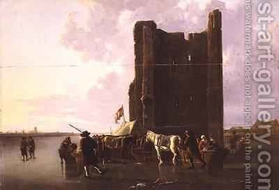 Townsfolk with sleighs on the frozen Maas by the Huis te Merwede by Aelbert Cuyp - Reproduction Oil Painting