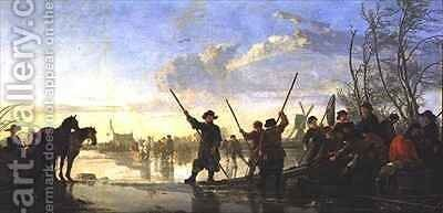 Skating scene with the Maas at Dordrecht by Aelbert Cuyp - Reproduction Oil Painting