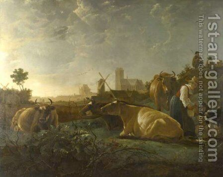 A Distant View of Dordrecht with Sleeping Herdsman and Five Cows by Aelbert Cuyp - Reproduction Oil Painting