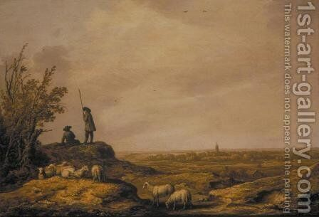 Panoramic Landscape with Shepherds Sheep and a Town Beverwijk in the Distance by Aelbert Cuyp - Reproduction Oil Painting