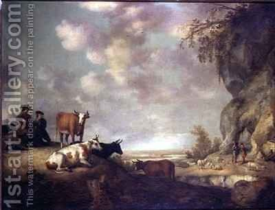 Landscape with Herdsmen Making Music by Aelbert Cuyp - Reproduction Oil Painting