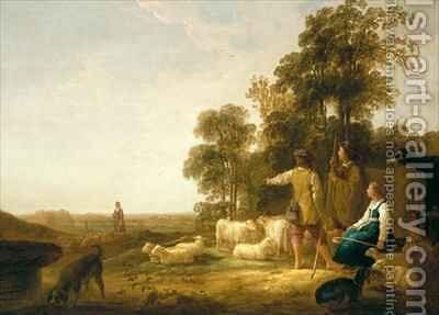 A Landscape with Shepherds and Shepherdesses by Aelbert Cuyp - Reproduction Oil Painting