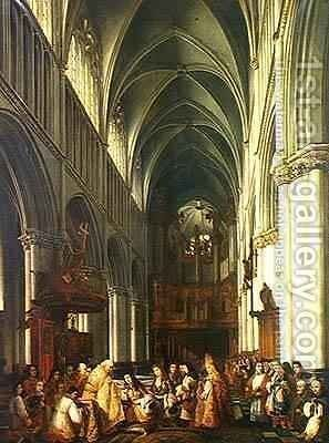 Entrance of Louis XIV 1638-1715 into the Cathedral of Saint Omer by Hippolyte Joseph Cuvelier - Reproduction Oil Painting