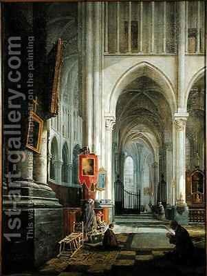 Interior of St Omer Cathedral by Hippolyte Joseph Cuvelier - Reproduction Oil Painting