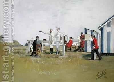 The Pistol Range Bisley Camp by Cecil Cutler - Reproduction Oil Painting