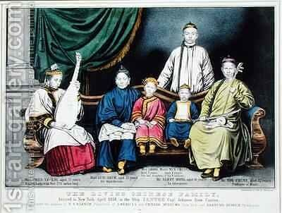 Poster advertising The Living Chinese Family by Nathaniel Currier - Reproduction Oil Painting