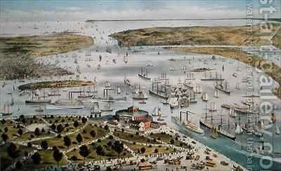 Port of New York Looking South by N. and Ives, J.M. Currier - Reproduction Oil Painting