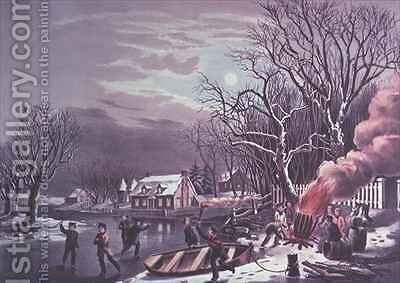 A Winter Evening by N. and Ives, J.M. Currier - Reproduction Oil Painting