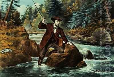 Brook Trout Fishing  An Anxious Moment by N. and Ives, J.M. Currier - Reproduction Oil Painting