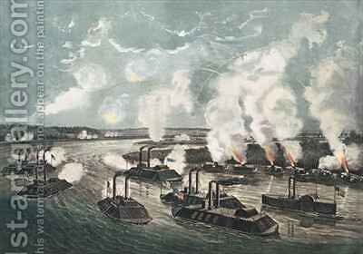 Bombardment and Capture of Island No 10 on the Mississippi River by N. and Ives, J.M. Currier - Reproduction Oil Painting