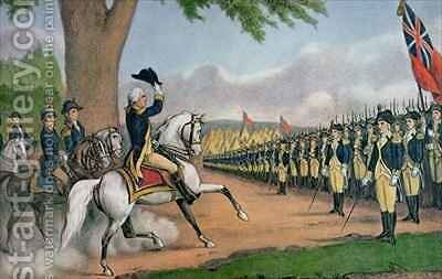 George Washington 1732-99 taking command of the American Army at Cambridge Massachusetts by N. and Ives, J.M. Currier - Reproduction Oil Painting