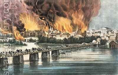 Fall of Richmond 2nd April 1865 by N. and Ives, J.M. Currier - Reproduction Oil Painting
