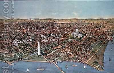 The City of Washington birds eye view from the Potomac looking North by N. and Ives, J.M. Currier - Reproduction Oil Painting