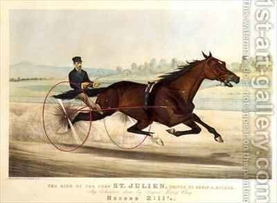 The King of the Turf St Julien driven by Orrin A Hickok by N. and Ives, J.M. Currier - Reproduction Oil Painting