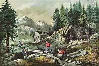 Goldmining in California by N. and Ives, J.M. Currier - Reproduction Oil Painting