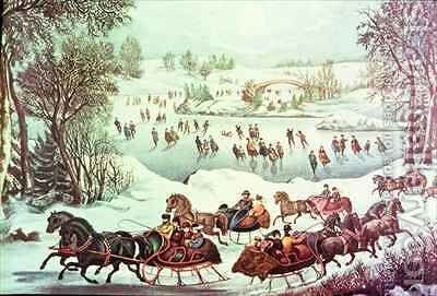 Central Park New York Winter The Skating Pond by N. and Ives, J.M. Currier - Reproduction Oil Painting