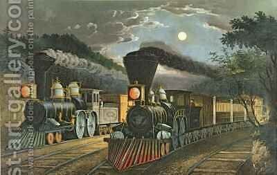 The Lightning Express Trains by N. and Ives, J.M. Currier - Reproduction Oil Painting