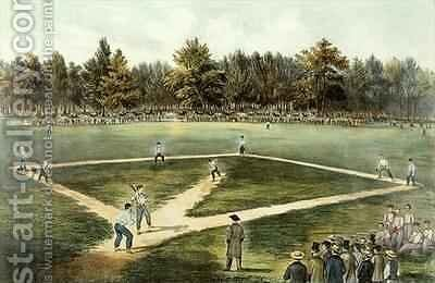 The American National Game of Baseball  Grand Match at Elysian Fields Hoboken NJ 2 by N. and Ives, J.M. Currier - Reproduction Oil Painting