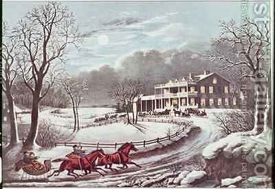 American Winter Evening Scene by N. and Ives, J.M. Currier - Reproduction Oil Painting