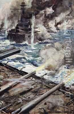 A fleet of battleships firing broadside by Cyrus Cuneo - Reproduction Oil Painting
