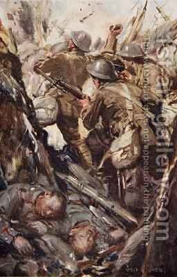 They bombed and bayoneted their way up the enemy trench by Cyrus Cuneo - Reproduction Oil Painting