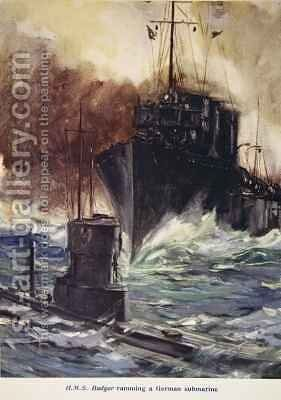 HMS Badger ramming a German submarine by Cyrus Cuneo - Reproduction Oil Painting