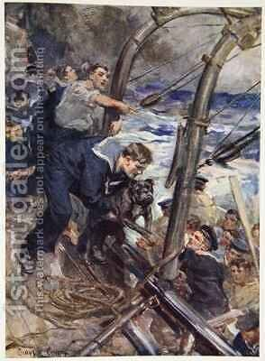 How Norah the Bulldog was saved from the sinking battleship by Cyrus Cuneo - Reproduction Oil Painting
