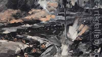 On an occasion when the German Poison gas assumed a reddish hue from The Illustrated War News by Cyrus Cuneo - Reproduction Oil Painting